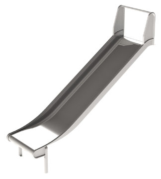 Wide metal embankment slide for playgrounds